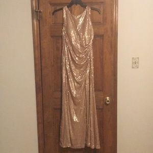 Like New Gold Sequin Evening Gown